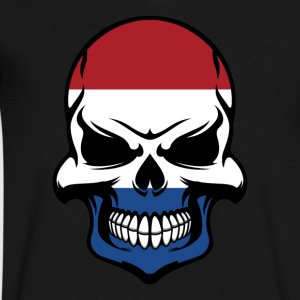 Dutch Flag Skull Cool Netherlands Skull - Men's V-Neck T-Shirt by Canvas
