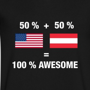 Half Austrian Half American 100% Awesome Flag Aust - Men's V-Neck T-Shirt by Canvas