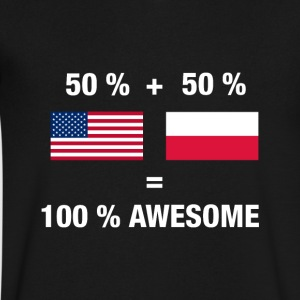 Polish American Half Poland Half America Flag - Men's V-Neck T-Shirt by Canvas
