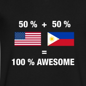 Half Filipino Half American 100% Awesome Philippin - Men's V-Neck T-Shirt by Canvas