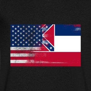 Mississippi American Flag Fusion - Men's V-Neck T-Shirt by Canvas