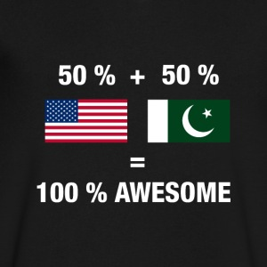 Pakistani American Half Pakistan Half America Flag - Men's V-Neck T-Shirt by Canvas
