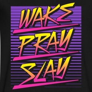 Wake Pray Slay (Sunset Retro) - Men's V-Neck T-Shirt by Canvas