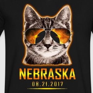 Cat Is Watching Nebraska Total Solar Eclipse 2017 - Men's V-Neck T-Shirt by Canvas