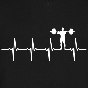 Weight Lifting - Heartbeat - Men's V-Neck T-Shirt by Canvas