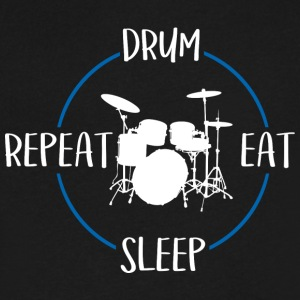Drum, Eat, Sleep, Repeat - Men's V-Neck T-Shirt by Canvas