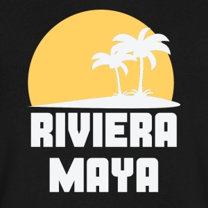 Riviera Maya Mexico Sunset Palm Trees Beach - Men's V-Neck T-Shirt by Canvas