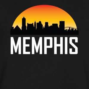 Sunset Skyline Silhouette of Memphis TN - Men's V-Neck T-Shirt by Canvas