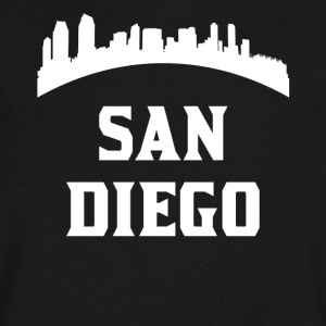 Vintage Style Skyline Of San Diego CA - Men's V-Neck T-Shirt by Canvas