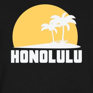 Honolulu Hawaii Sunset Palm Trees Beach - Men's V-Neck T-Shirt by Canvas