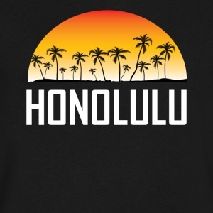 Honolulu Hawaii Sunset And Palm Trees Beach - Men's V-Neck T-Shirt by Canvas