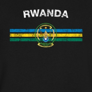 Rwandan Flag Shirt - Rwandan Emblem & Rwanda Flag - Men's V-Neck T-Shirt by Canvas