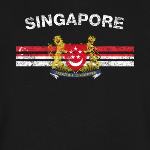 Singaporean Flag Shirt - Singaporean Emblem & Sing - Men's V-Neck T-Shirt by Canvas