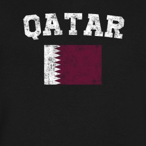 Qatari Flag Shirt - Vintage Qatar T-Shirt - Men's V-Neck T-Shirt by Canvas