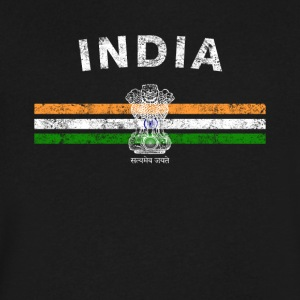 Indian Flag Shirt - Indian Emblem & India Flag Shi - Men's V-Neck T-Shirt by Canvas