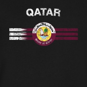 Qatari Flag Shirt - Qatari Emblem & Qatar Flag Shi - Men's V-Neck T-Shirt by Canvas