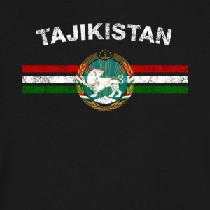 Tajik Flag Shirt - Tajik Emblem & Tajikistan Flag - Men's V-Neck T-Shirt by Canvas