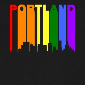 Portland Oregon Rainbow LGBT Gay Pride - Men's V-Neck T-Shirt by Canvas