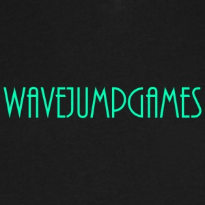 WavejumpGames (Bluish-Green Text) - Men's V-Neck T-Shirt by Canvas