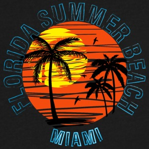Florida summer beach Miami vector pictture art fun - Men's V-Neck T-Shirt by Canvas