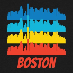 Retro Boston MA Skyline Pop Art - Men's V-Neck T-Shirt by Canvas