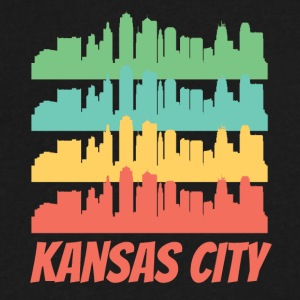 Retro Kansas City MO Skyline Pop Art - Men's V-Neck T-Shirt by Canvas