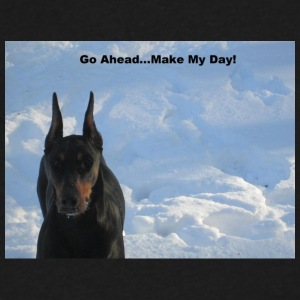 Doberman Go Ahead Make My Day T shirt - Men's V-Neck T-Shirt by Canvas