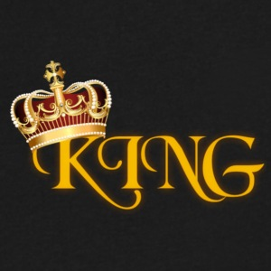 GOLD KING CROWN WITH YELLOW LETTERING - Men's V-Neck T-Shirt by Canvas