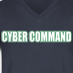 Cyber Command by Basement Mastermind Hacking T S - Men's V-Neck T-Shirt by Canvas
