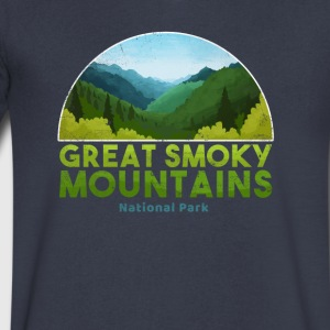 Great Smoky Mountain National Park T shirt Hiking - Men's V-Neck T-Shirt by Canvas
