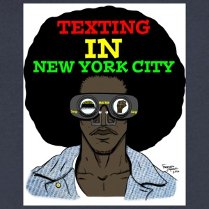Texting In New York City - Men's V-Neck T-Shirt by Canvas