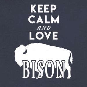 Keep Calm and Love Bison Shirt - Men's V-Neck T-Shirt by Canvas