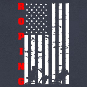 Roping Flag Tee Shirt - Men's V-Neck T-Shirt by Canvas