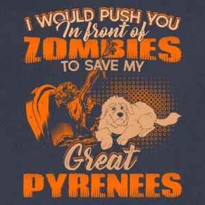Save My Great Pyrenees From Zombies Shirt - Men's V-Neck T-Shirt by Canvas