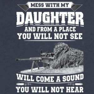 MESS WITH MY DAUGHTER - Men's V-Neck T-Shirt by Canvas