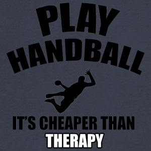 handball designs - Men's V-Neck T-Shirt by Canvas
