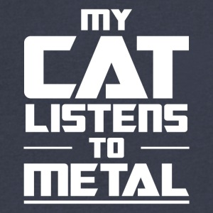 My Cat listens to metal - Men's V-Neck T-Shirt by Canvas