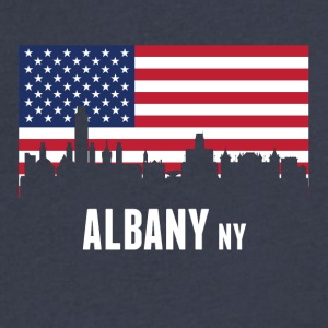 American Flag Albany Skyline - Men's V-Neck T-Shirt by Canvas