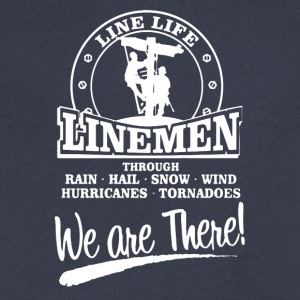 Lineman We Are There Left Chest Tee Shirt - Men's V-Neck T-Shirt by Canvas
