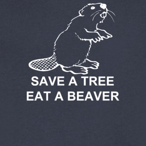 Save A Tree Eat A Beaver - Men's V-Neck T-Shirt by Canvas