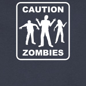 Caution Zombies - Men's V-Neck T-Shirt by Canvas