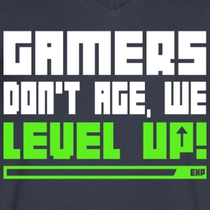Gamers Don t Age We Level Up T Shirt - Men's V-Neck T-Shirt by Canvas