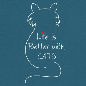 Cat life is bestter with cats - Men's V-Neck T-Shirt by Canvas