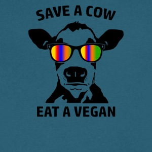 Save a Cow Eat a Vegan - Men's V-Neck T-Shirt by Canvas