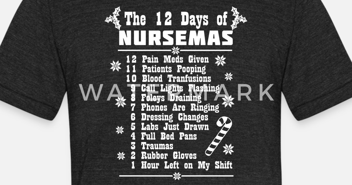 6781c907 12 days of Nursemas Christmas Nurses Xmas Nursing ER CNA Unisex Tri-Blend T- Shirt | Spreadshirt