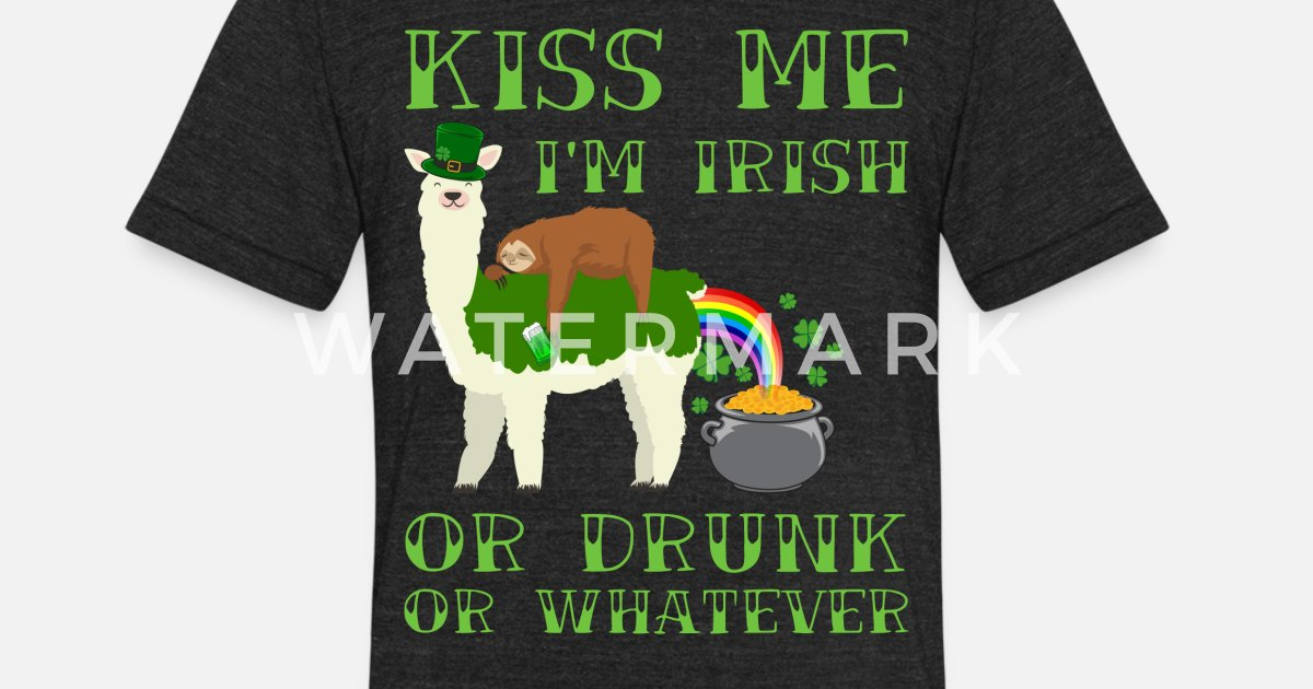 St Patricks Day Llama Sloth Drunk Drinking Team Unisex Tri Blend T