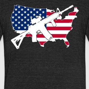 AR 15 Flag Shirt - Unisex Tri-Blend T-Shirt by American Apparel