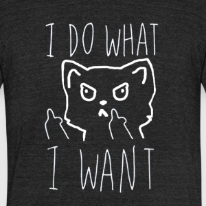 I Do What I Want Cat T-shirt - Unisex Tri-Blend T-Shirt by American Apparel