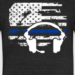 911 Dispatcher Flag Shirt - Unisex Tri-Blend T-Shirt by American Apparel