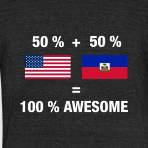 Half Haitian Half American 100% Awesome Flag Haiti - Unisex Tri-Blend T-Shirt by American Apparel